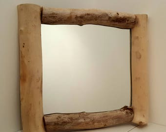 35cm Square Driftwood Mirror