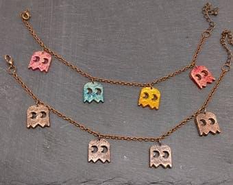 Pacman Ghost Charm Bracelet