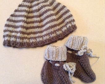 Infant Hat and Booties Chocolate and Beige Brown Gift Set