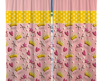 Princess  Window Curtain, Crowns Window Curtain, Custom Window Curtain, Pink Window Curtain with yellow accent.