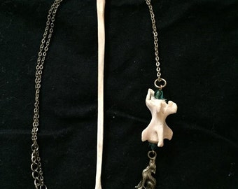 Coyote Tail Vertebrae with Coyote Charm