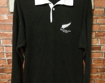 MEGA SALE Vintage New Zealand Rugby Polo Shirt All Blacks Size M Medium Made in New Zealand