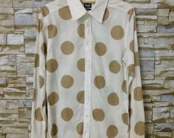 MEGA SALE 90's D&G Vintage Dolce Gabbana Shirt Long Sleeve Slim Button Down Size 48
