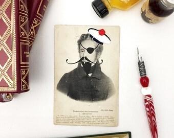 art, illustration, old postcard, embroidery