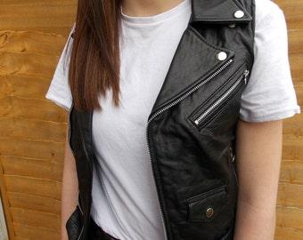 womens black sleeveless leather biker jacket