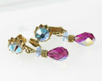 Colourful Beaded Crystal AB Clip-On Dangly Earrings - Vendome - Style