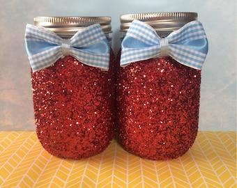 Ruby Slippers, Ruby slippers inspired decor, Wizard of Oz decor, Custom nursery decor, Glitter Mason jars