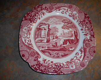 Spode Pink Italian Square Luncheon Plate