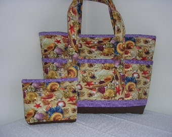 Sea Shells Quilted Tote Bag, Lrg
