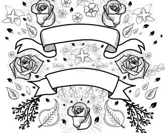 Hand Drawn Doodle Set - Banners and Flowers