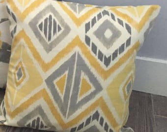 Gray and Yellow Throw Pillow Cover - Grey and Yellow Pillow - Grey and White Pillow - Grey and Yellow Aztec Pillow - Gray and Yellow Pillow