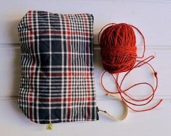 Square bag, cotton pouch, tartan, jacquard fabric,