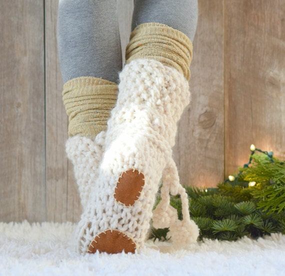 Mountain Chalet Knit Slipper Boots Pattern, Slipper Knitting Pattern, Easy Boot Knit Pattern, Knit Flat Slippers, Beginner Knit Slippers