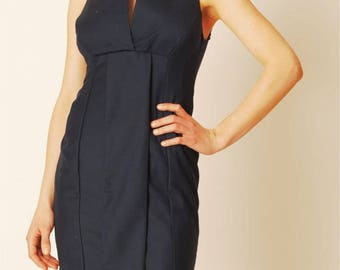 Chic dress / designer dress / 100% cotton / spring / handmade / Navy