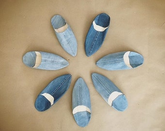Denim Moroccan Style Babouche Slippers Leather Slippers BOHO 6 7 8 9 10 11