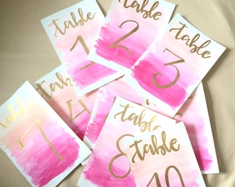 Hand painted table numbers || Wedding || calligraphy