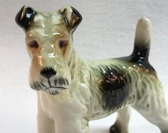 Wire Haired Terrier Miniature Figure Figurine - Perro  Miniature Terrier   Dog Lover  1940's  Dog  Dog Lover  Vintage Figurine  Puppy