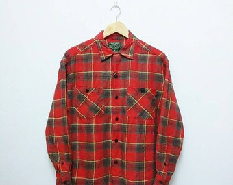 Hot Sale!!! Rare Vintage 90s RALPH LAUREN COUNTRY Check Double Pocket Button Down Shirt Hip Hop Hipster Swag Large Size