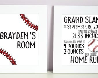 Baseball, Personalized, Name Print, Bedroom Sign, Nursery Decor, Birth Details, Custom Name