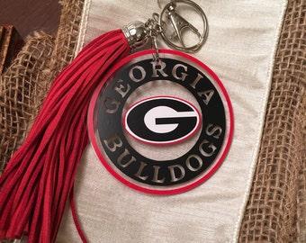 Georgia Bulldogs Acrylic Keychain with Tassel