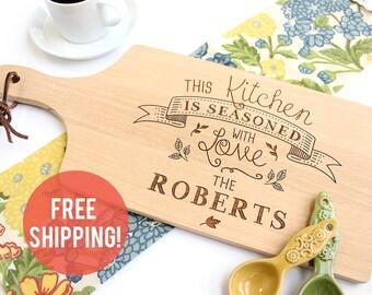 Personalized Cutting Board, Personalized Wedding Gift, Seasoned With Love Cutting Board, Custom Gift, Hostess Gift, Custom Cutting Board