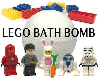 New Size LEGO Minifigure Bath Bomb! - Real LEGO Character/Toy Figure Included, Surprise Bath Bombs, High Quality Handmade Bath Bombs