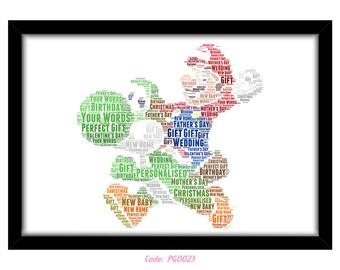 PERSONALISED Mario & Yoshi Word Art Print Gift Idea Birthday Present Wall Art Home Print Super Mario Nintendo Retro Gamer Gaming N64 PG0023