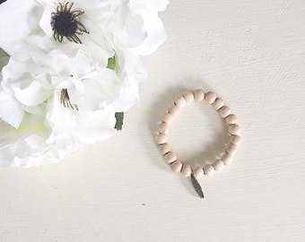 Feather Charm Bracelet, Charm Bracelet, Feather, Wood Bead Bracelet, Wooden bead Bracelet, wood bracelet, bracelet, wood beads, wooden beads