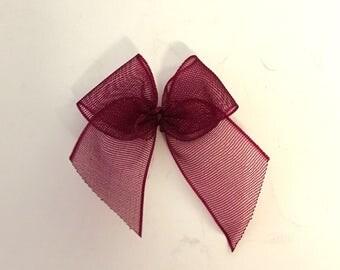 10, burgundy organza bows, burgundy ribbon bows, burgundy bows, wedding supplies, organza ribbon bows, 12mm ribbon bows, cardmaking supplies