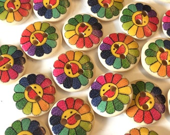 10, flower buttons, floral wood buttons, choice of colour, craft buttons, novelty buttons, sweater buttons, childrens buttons