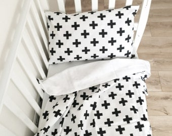 SALE Baby Bedding - Nursery Bedding Set - Black Pluses Bedding - Baby Bedding Crib - Unique Bed Clothing - Handmade - Black And White