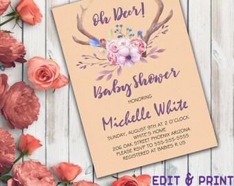 Oh Deer Baby Shower Invitation, Antler Baby Shower Invitation, Gender Neutral, Gender Reveal, Deer Invitation, Boy, Girl, Instant Download