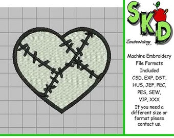 Jack Skellington Patchwork Heart - Full Stitch Machine Embroidery Design - Nightmare Before Christmas Love
