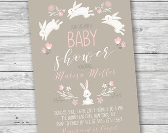 Easter Bunny Baby Shower, Spring Baby Shower, Bunny Baby Shower Invitation,  Printable Invitation