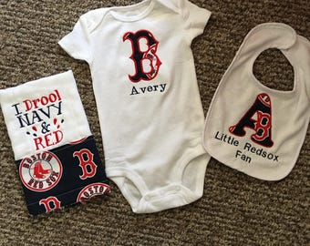 Personalized Boston Redsox Infant Gift Set