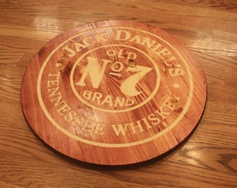 Wooden Jack Daniels Whiskey CNC Engraved Circular Bar Sign