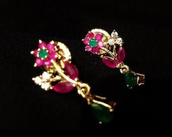 SALE on Small cz Earrings | Cz Ruby Emerald Studs