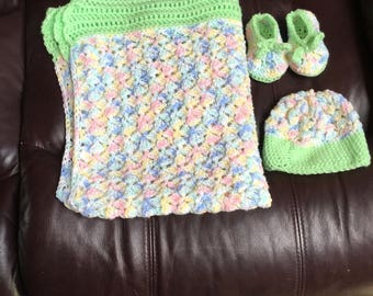 Baby blanket , hat and booties