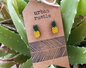 Pineapple wooden stud earrings - fruit earrings - food earrings - wooden earrings - wooden jewelry - wooden jewellery - wooden studs