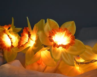 Yellow Daffodil Flower Fairy Lights, Fairy Lights Dorm Decoration, Flower String Lights Wedding