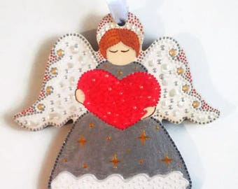 Guardian angel Wooden Love angel Heart silver angel Hand painted angel Wood toy Baby room Valentines gift  gifts for children