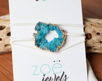 Turquoise Druzy Wrap Bracelet