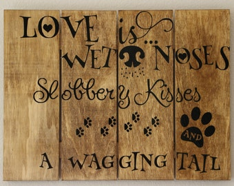 """Handcrafted wood wall plaque Wet noses 12"""" x 10"""""""