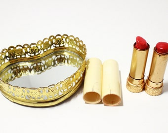 Vintage Gold Tone 1960's Metal Lipstick Tube/Container Max Factor Ultralucent Whipped Creme Frosts- Small Filigree Mirror Tray, Heart Shaped