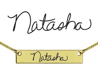 Custom Signature Name Bar Necklace Unique Signature Necklace