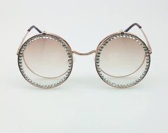 Double Lens Diamante Geek Glasses