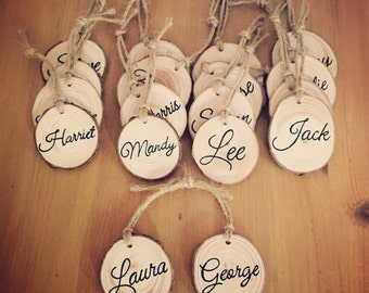 Wood slices, personalised wedding favours