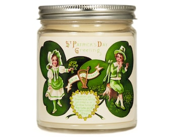 St Patricks Day Candle, Scented Candle, Container Candle, Soy Candle, St Patricks Day Gift, Vintage St Patricks Day, Spring Candle