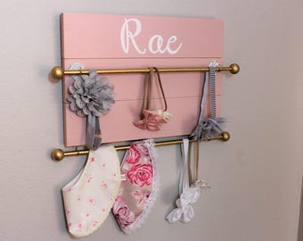 Baby Bow Holder Girls Bow Holder Headband Holder Headband Organizer Girls Nursery Organizer Girls Baby shower gift Pink headband holder