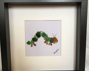 Hungry Caterpillar sea glass art